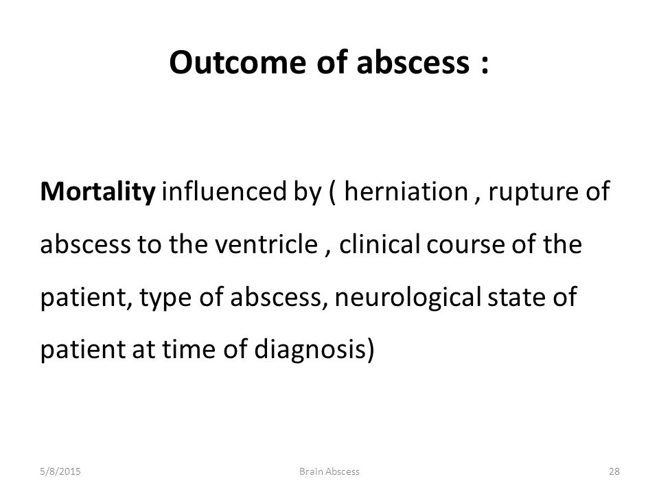 Outcome of abscess :