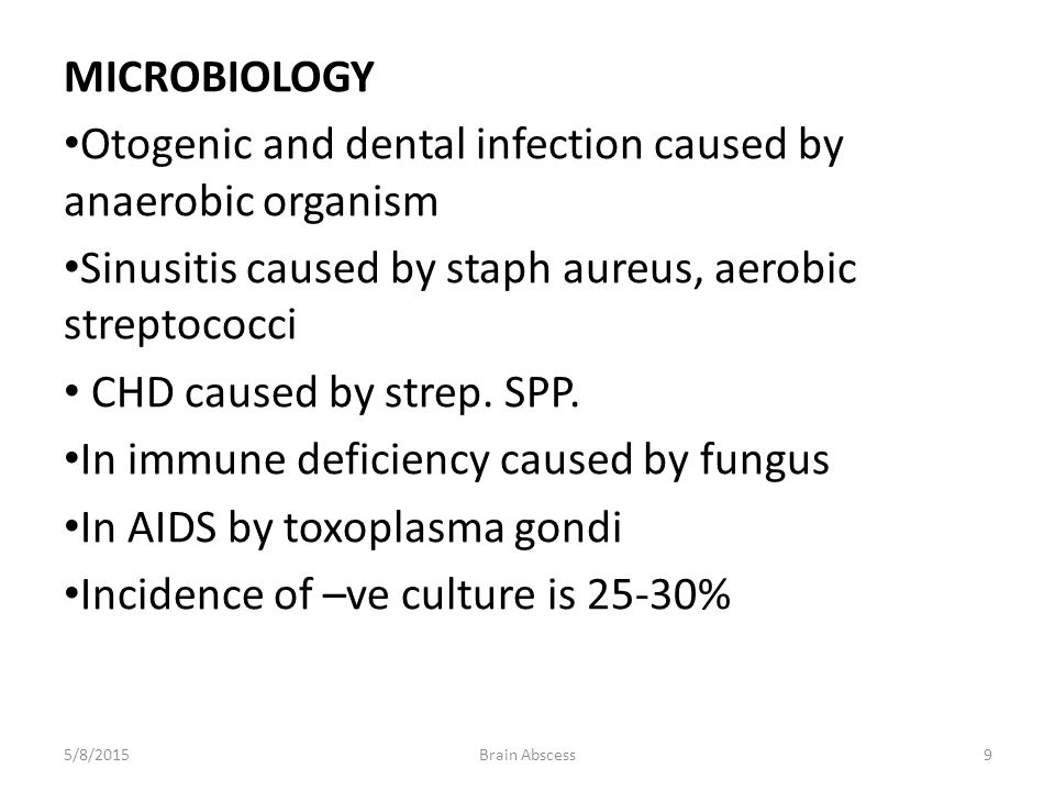 Otogenic and dental infection caused by anaerobic organism