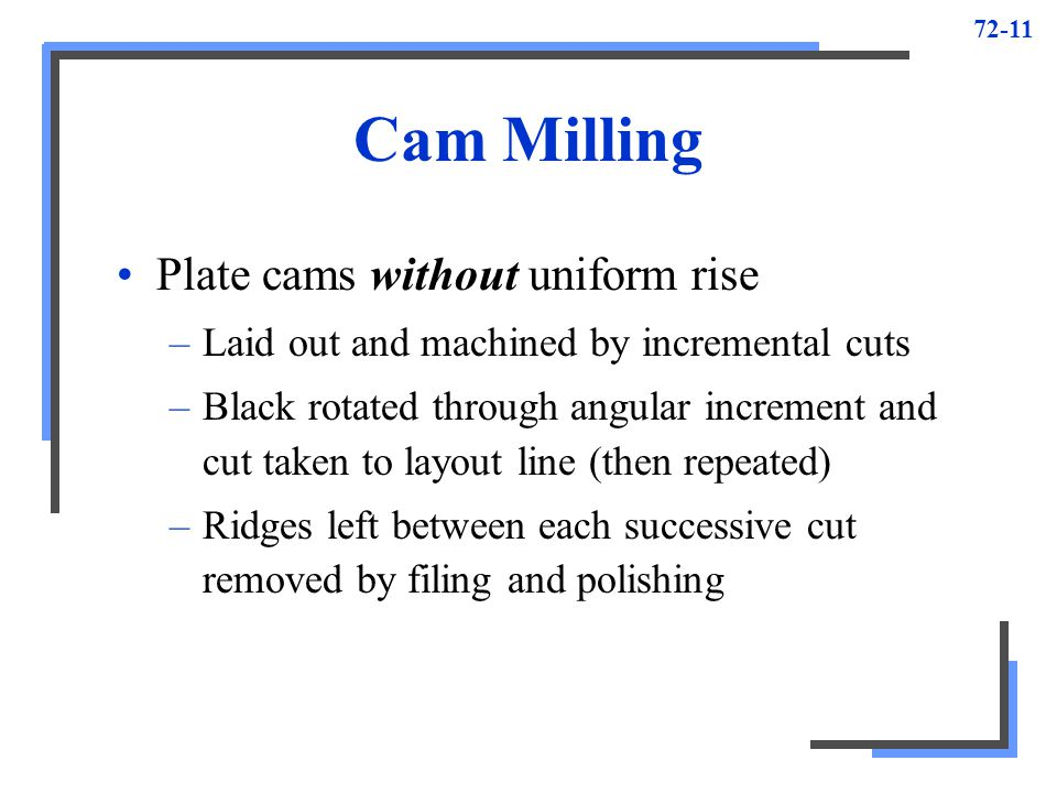 Cam Milling Plate cams without uniform rise