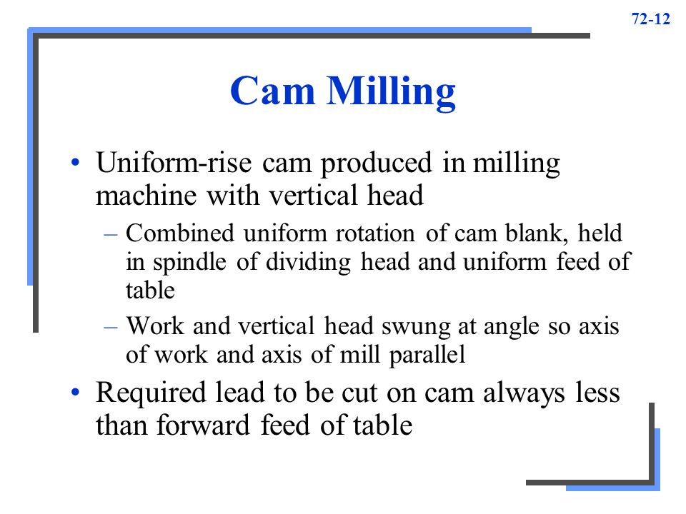 Cam Milling Uniform-rise cam produced in milling machine with vertical head.