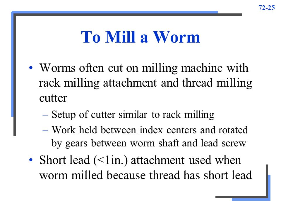 To Mill a Worm Worms often cut on milling machine with rack milling attachment and thread milling cutter.