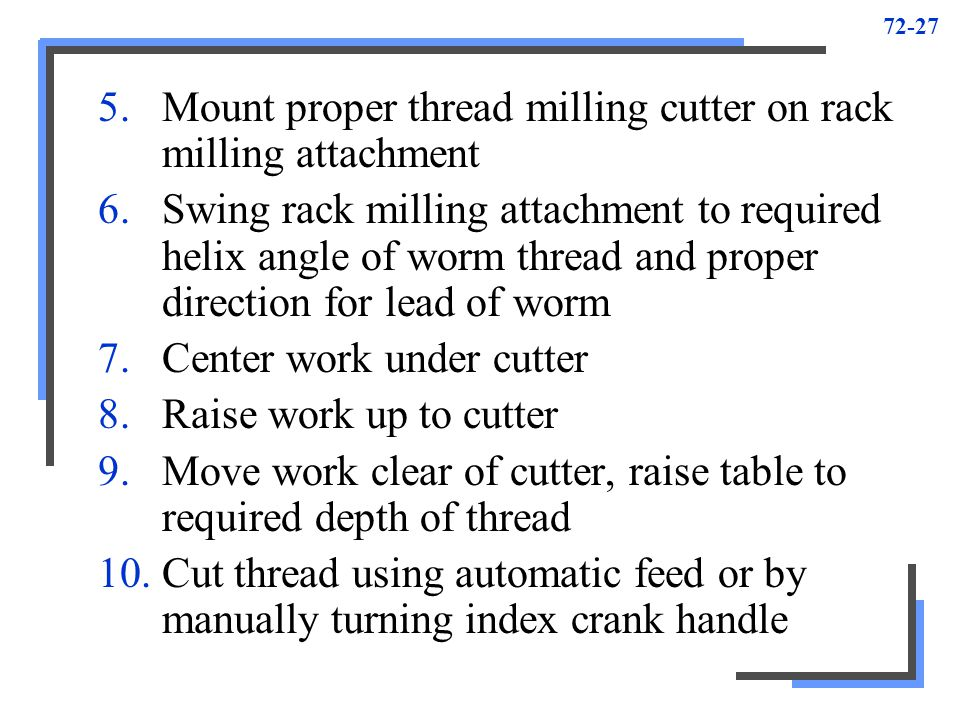Mount proper thread milling cutter on rack milling attachment
