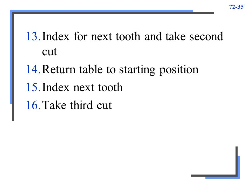 Index for next tooth and take second cut