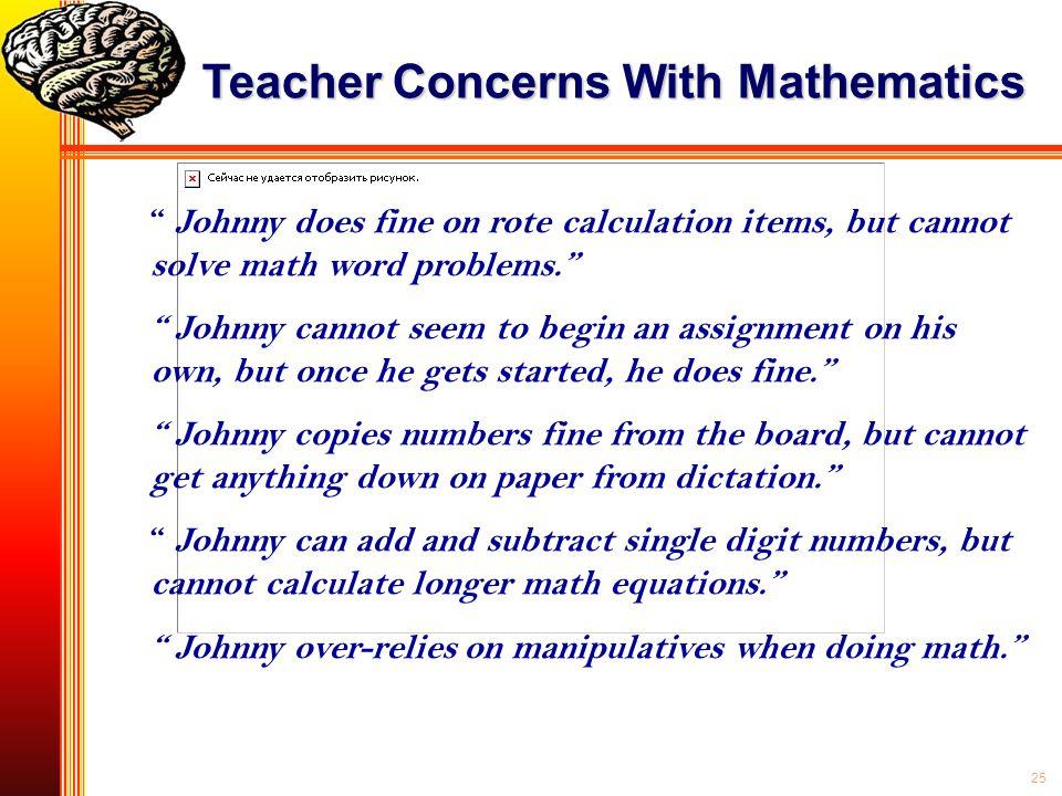 Teacher Concerns With Mathematics
