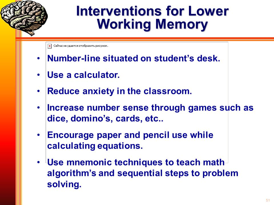 Interventions for Lower Working Memory