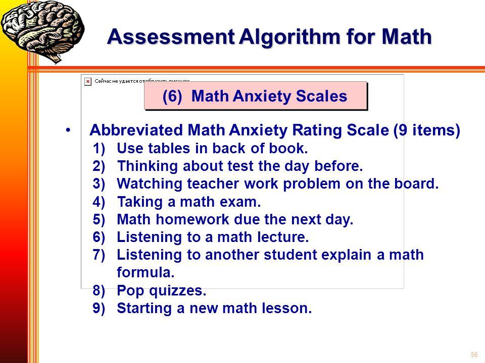 Assessment Algorithm for Math