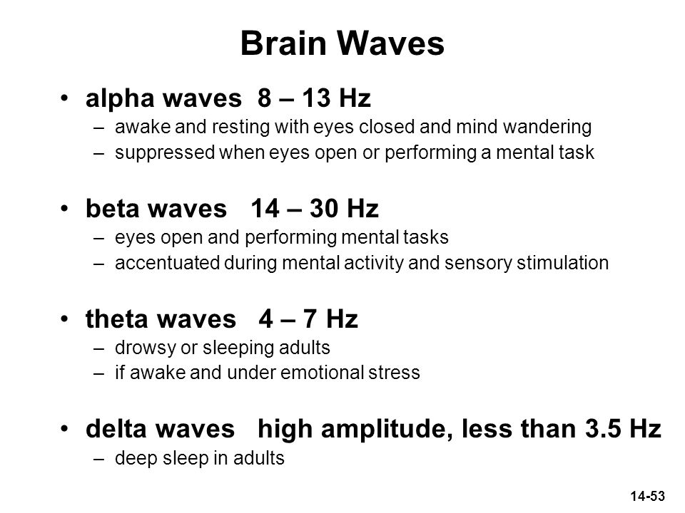 Brain Waves alpha waves 8 – 13 Hz beta waves 14 – 30 Hz