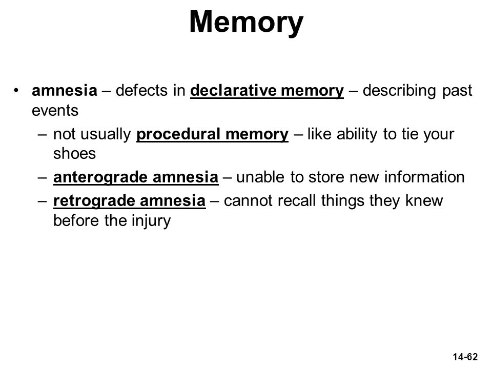 Memory amnesia – defects in declarative memory – describing past events. not usually procedural memory – like ability to tie your shoes.