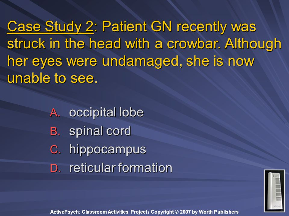 Case Study 2: Patient GN recently was struck in the head with a crowbar. Although her eyes were undamaged, she is now unable to see.