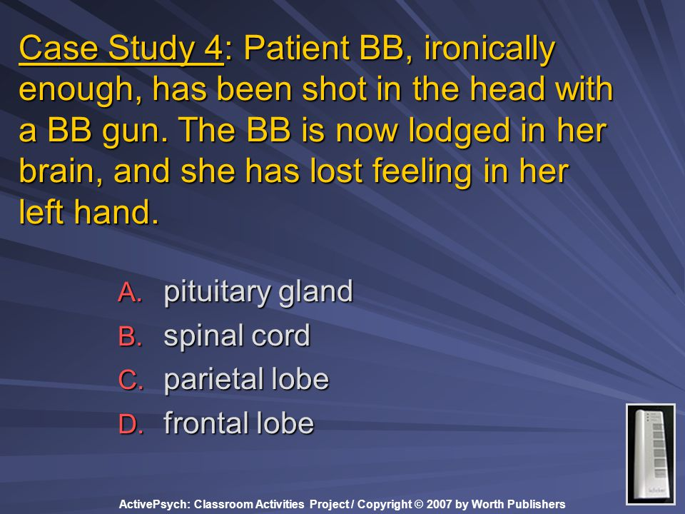 Case Study 4: Patient BB, ironically enough, has been shot in the head with a BB gun. The BB is now lodged in her brain, and she has lost feeling in her left hand.