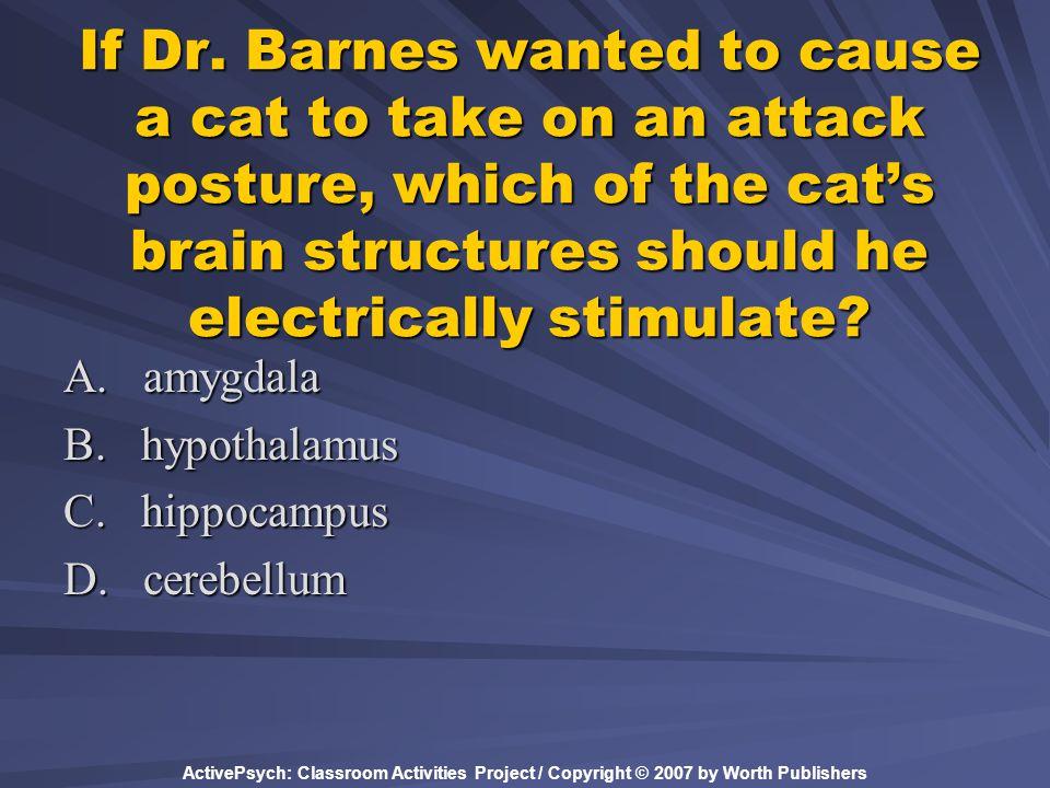 If Dr. Barnes wanted to cause a cat to take on an attack posture, which of the cat's brain structures should he electrically stimulate