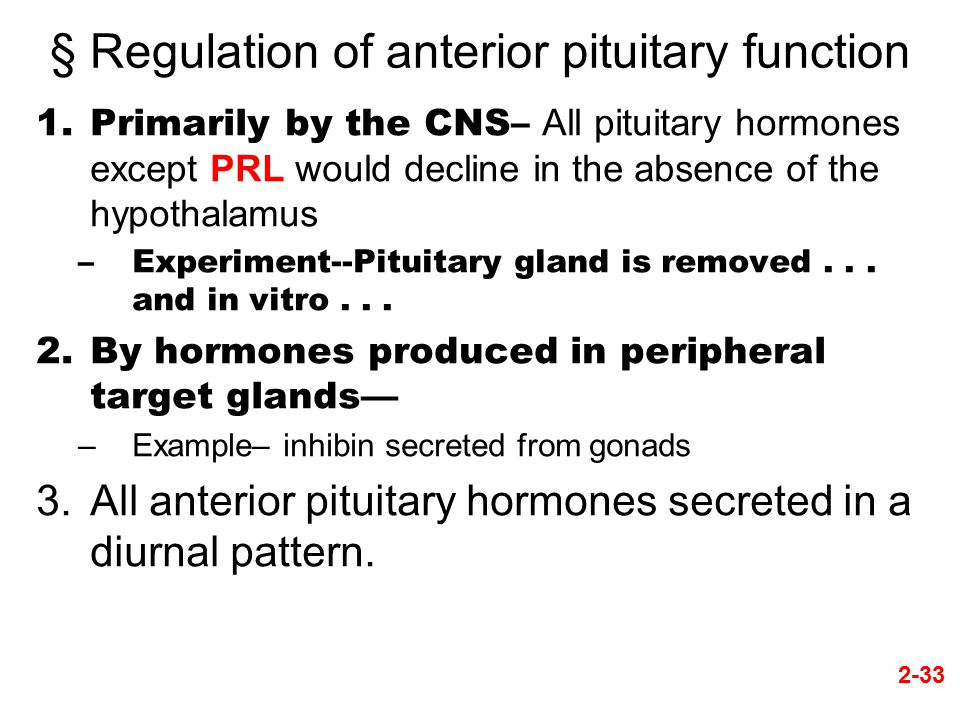 § Regulation of anterior pituitary function