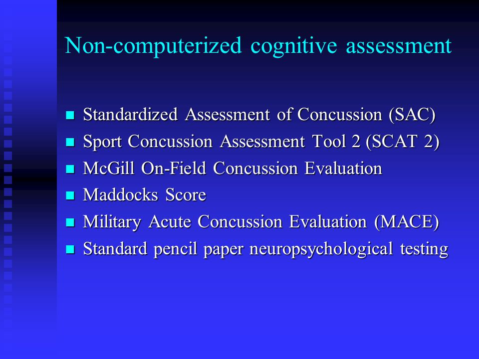 Non-computerized cognitive assessment