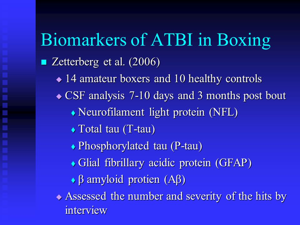 Biomarkers of ATBI in Boxing