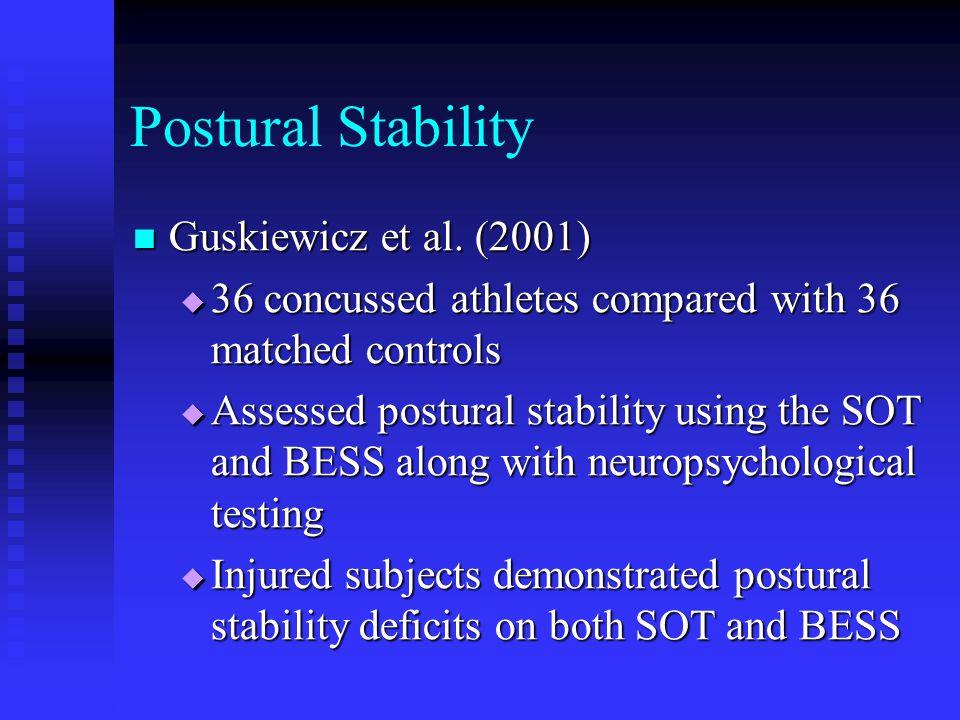 Postural Stability Guskiewicz et al. (2001)