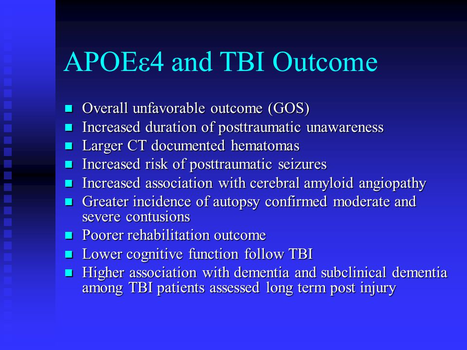 APOEε4 and TBI Outcome Overall unfavorable outcome (GOS)