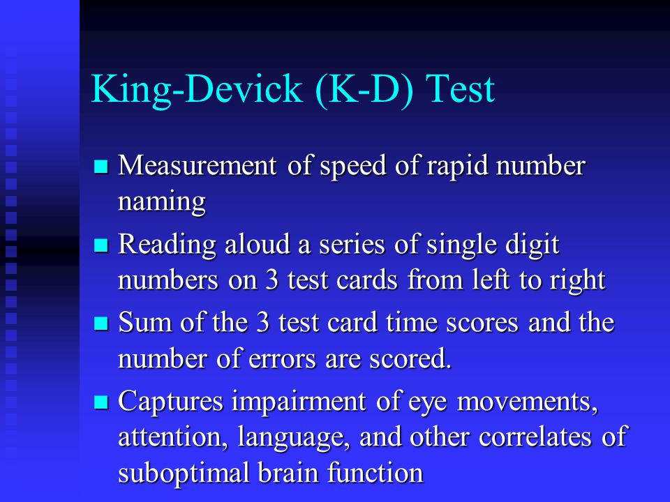 King-Devick (K-D) Test