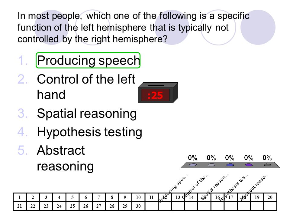 Control of the left hand Spatial reasoning Hypothesis testing