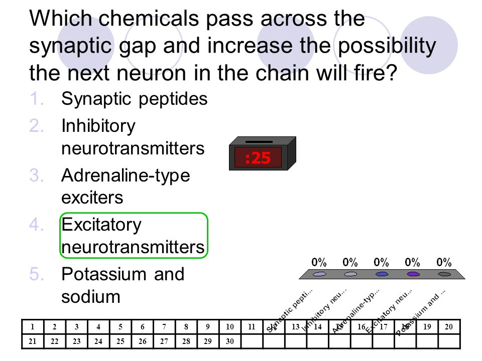 Which chemicals pass across the synaptic gap and increase the possibility the next neuron in the chain will fire