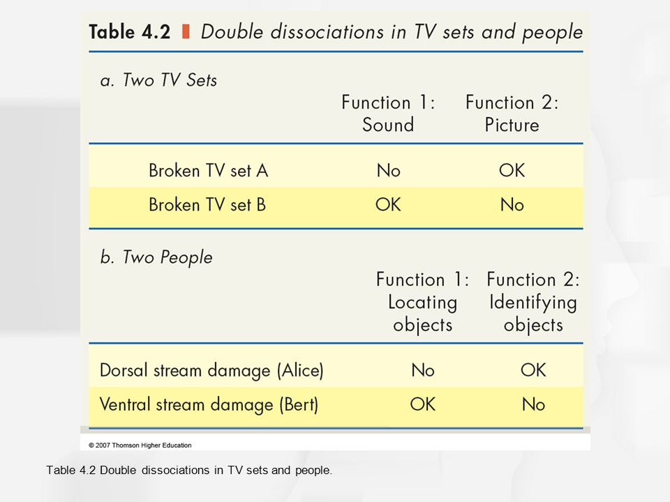 Table 4.2 Double dissociations in TV sets and people.