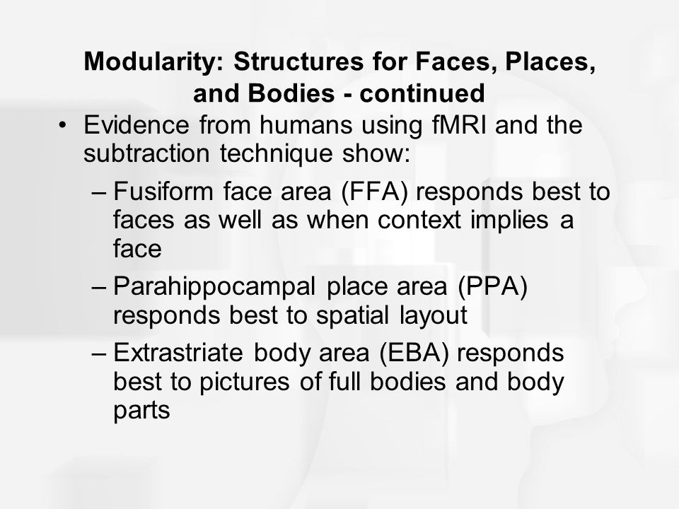 Modularity: Structures for Faces, Places, and Bodies - continued