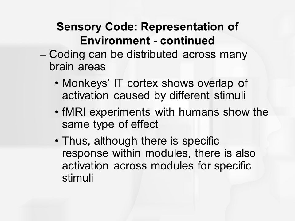 Sensory Code: Representation of Environment - continued