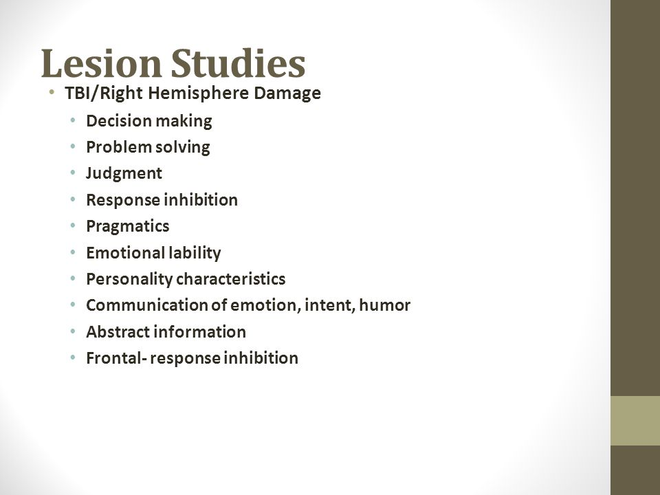 Lesion Studies TBI/Right Hemisphere Damage Decision making