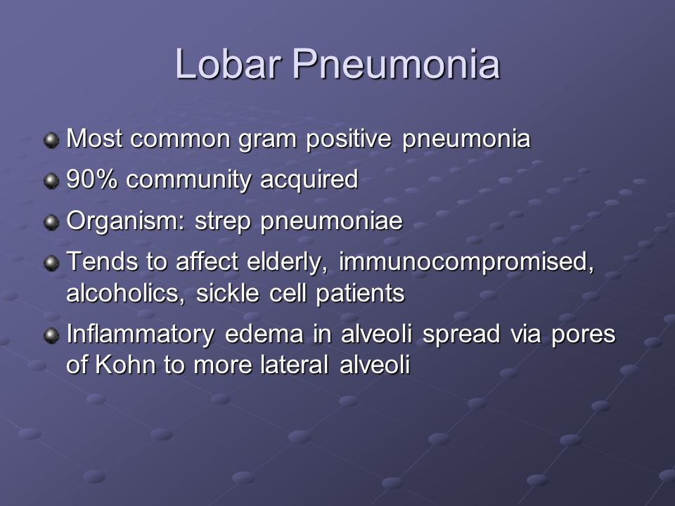 Lobar Pneumonia Most common gram positive pneumonia