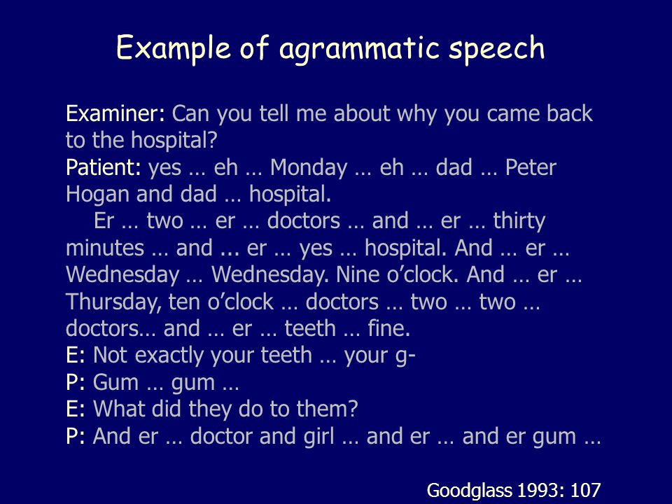 Example of agrammatic speech