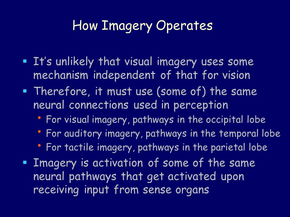 How Imagery Operates It's unlikely that visual imagery uses some mechanism independent of that for vision.