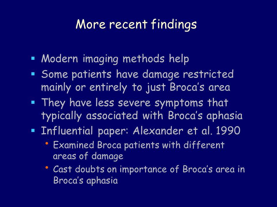 More recent findings Modern imaging methods help