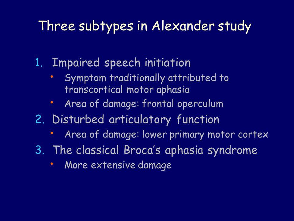 Three subtypes in Alexander study
