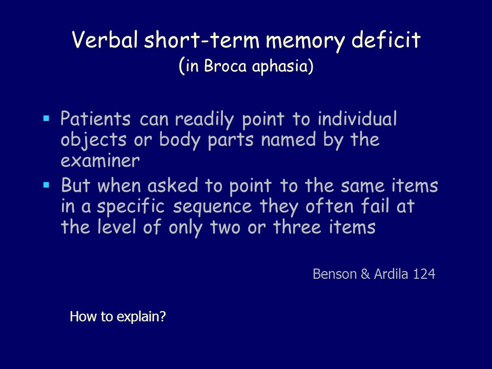 Verbal short-term memory deficit (in Broca aphasia)