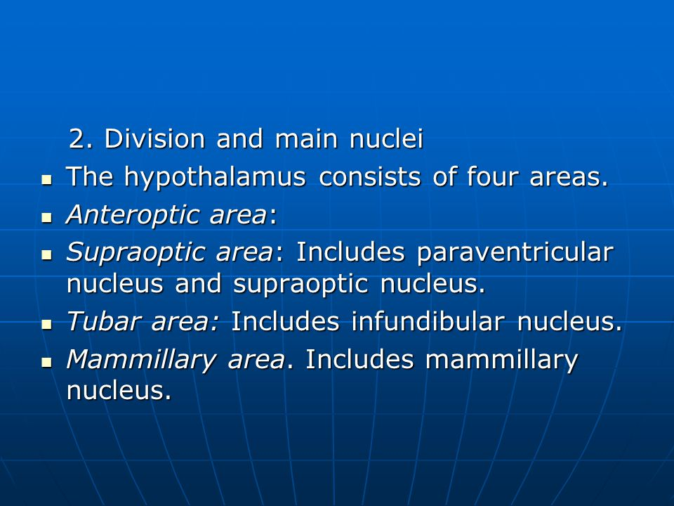 2. Division and main nuclei