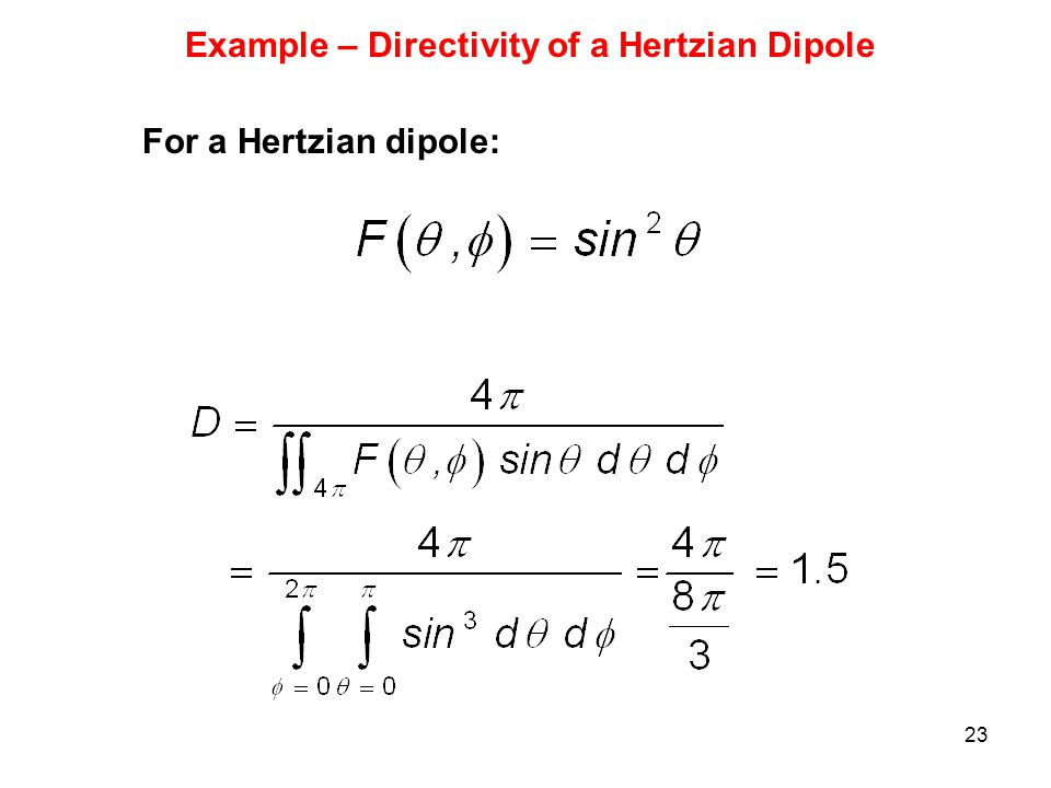 Example – Directivity of a Hertzian Dipole