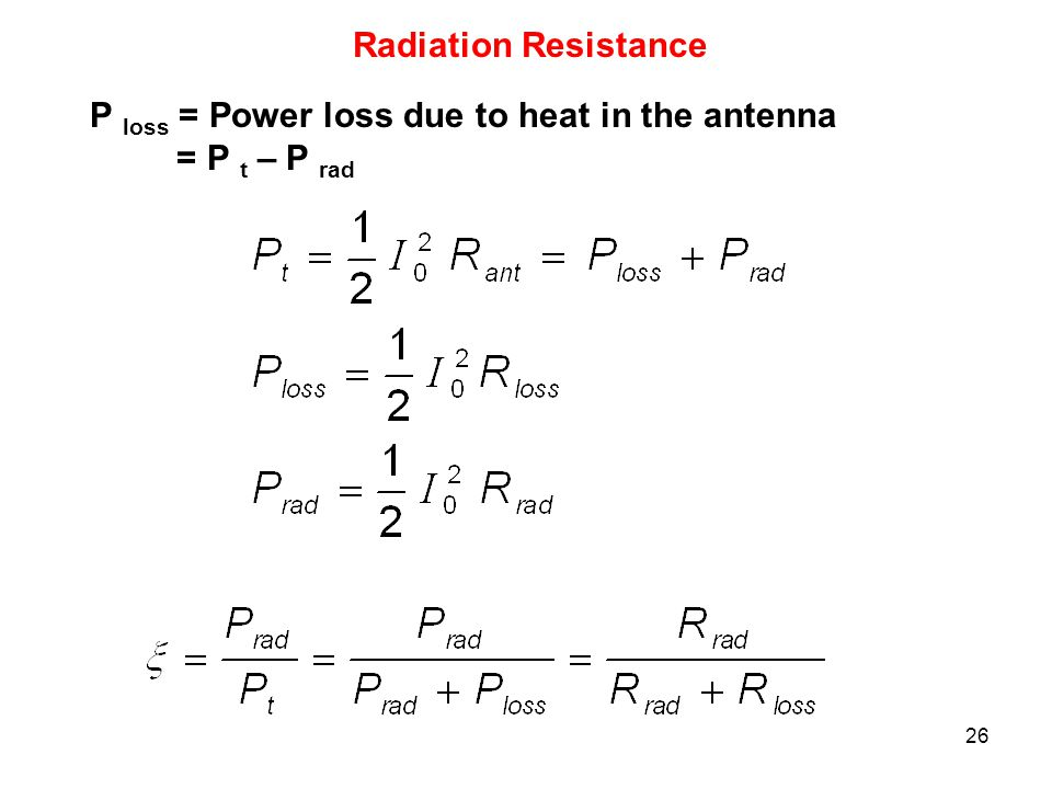Radiation Resistance P loss = Power loss due to heat in the antenna = P t – P rad