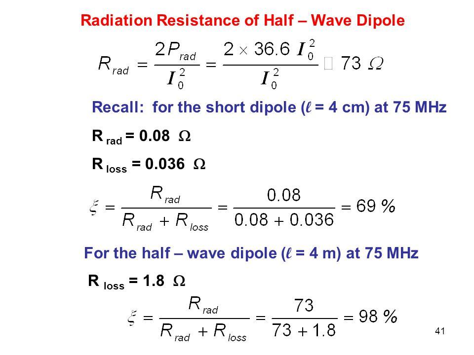 Radiation Resistance of Half – Wave Dipole