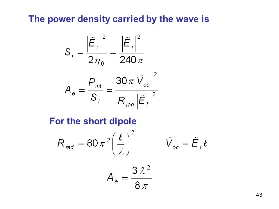 The power density carried by the wave is