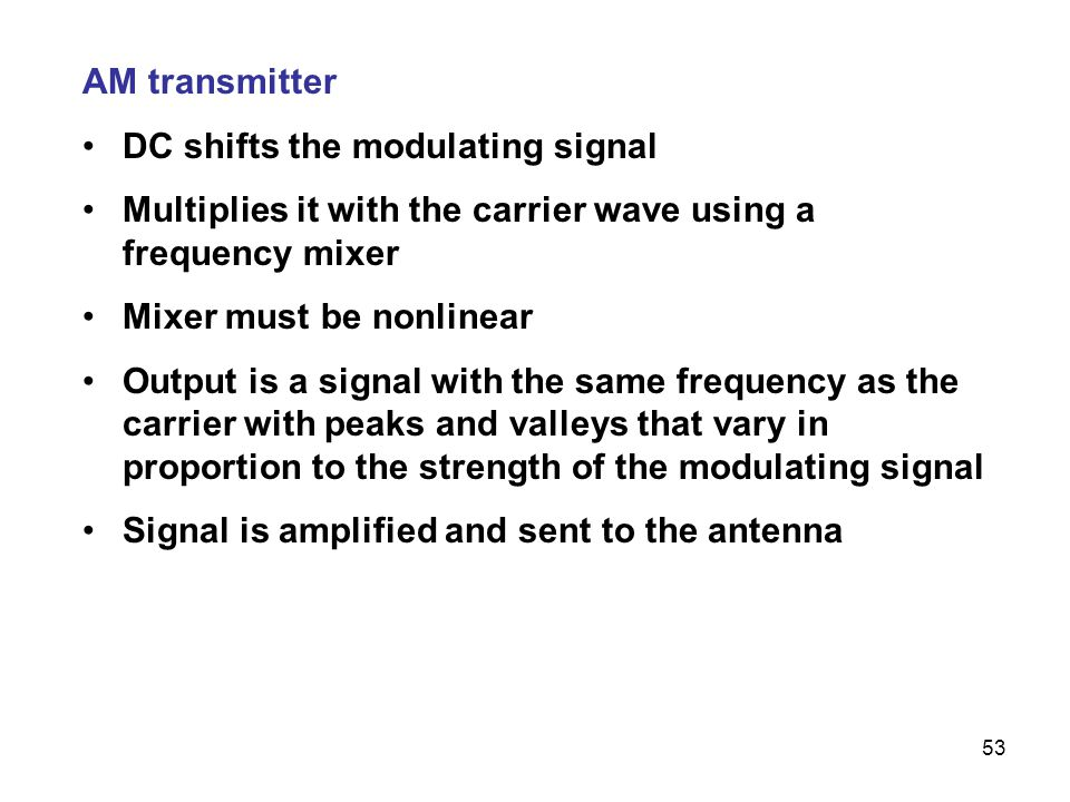 AM transmitter DC shifts the modulating signal. Multiplies it with the carrier wave using a frequency mixer.