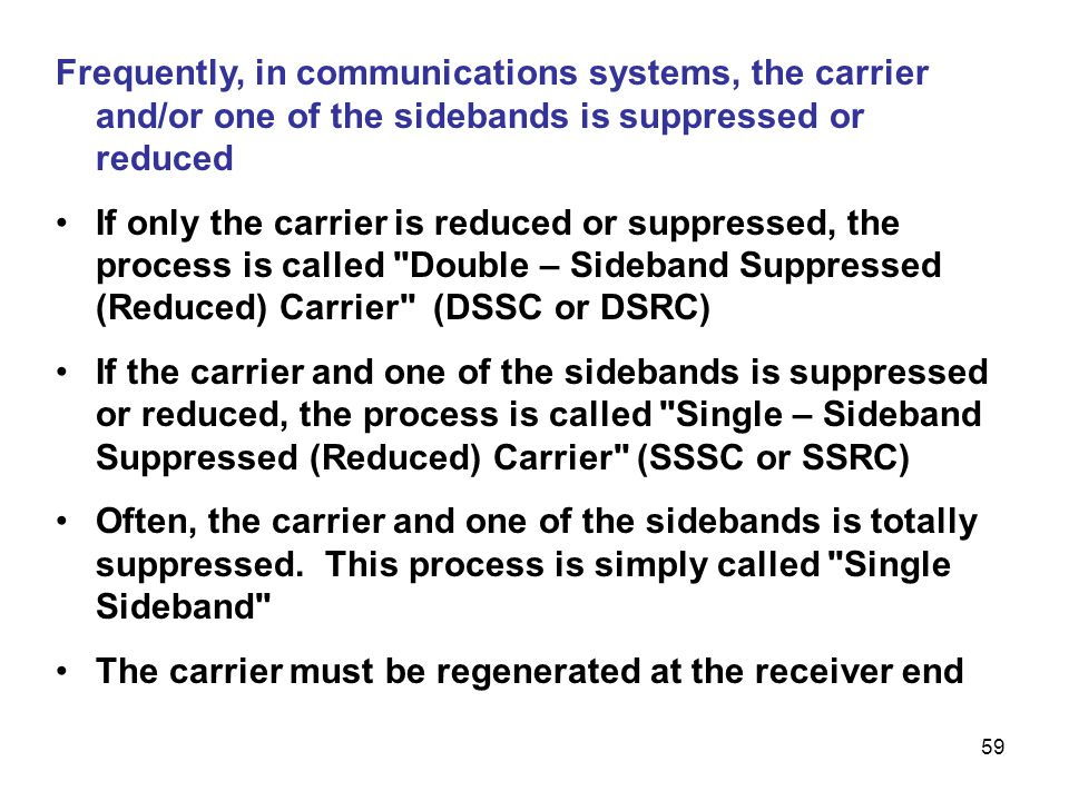 Frequently, in communications systems, the carrier and/or one of the sidebands is suppressed or reduced