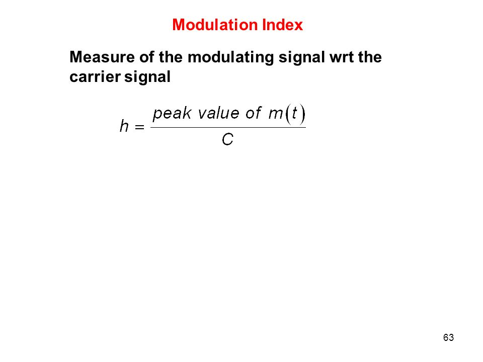 Modulation Index Measure of the modulating signal wrt the carrier signal