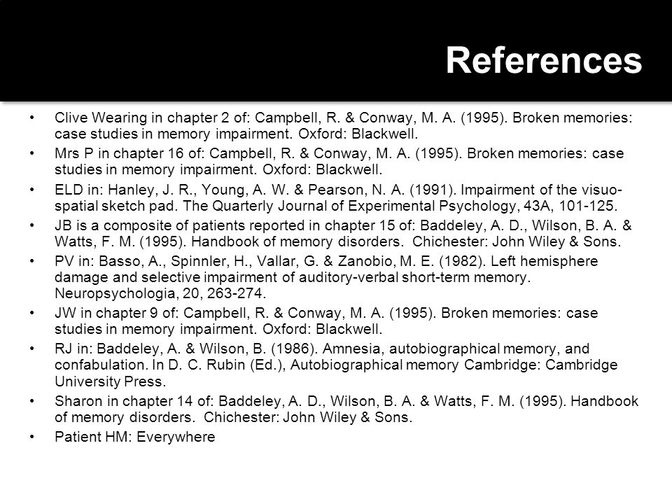 References Clive Wearing in chapter 2 of: Campbell, R. & Conway, M. A. (1995). Broken memories: case studies in memory impairment. Oxford: Blackwell.