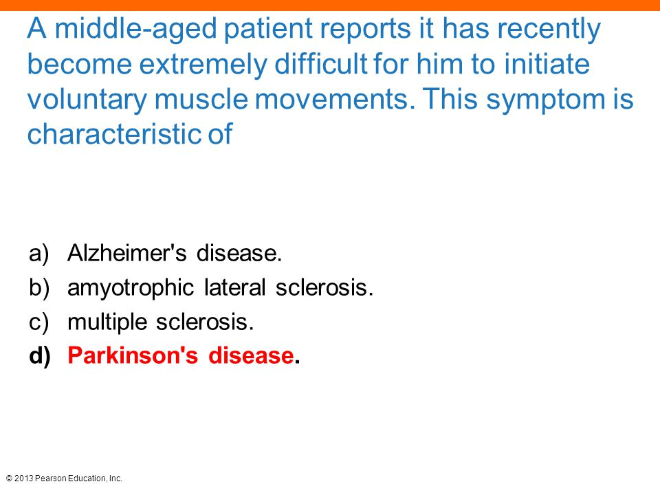 A middle-aged patient reports it has recently become extremely difficult for him to initiate voluntary muscle movements. This symptom is characteristic of