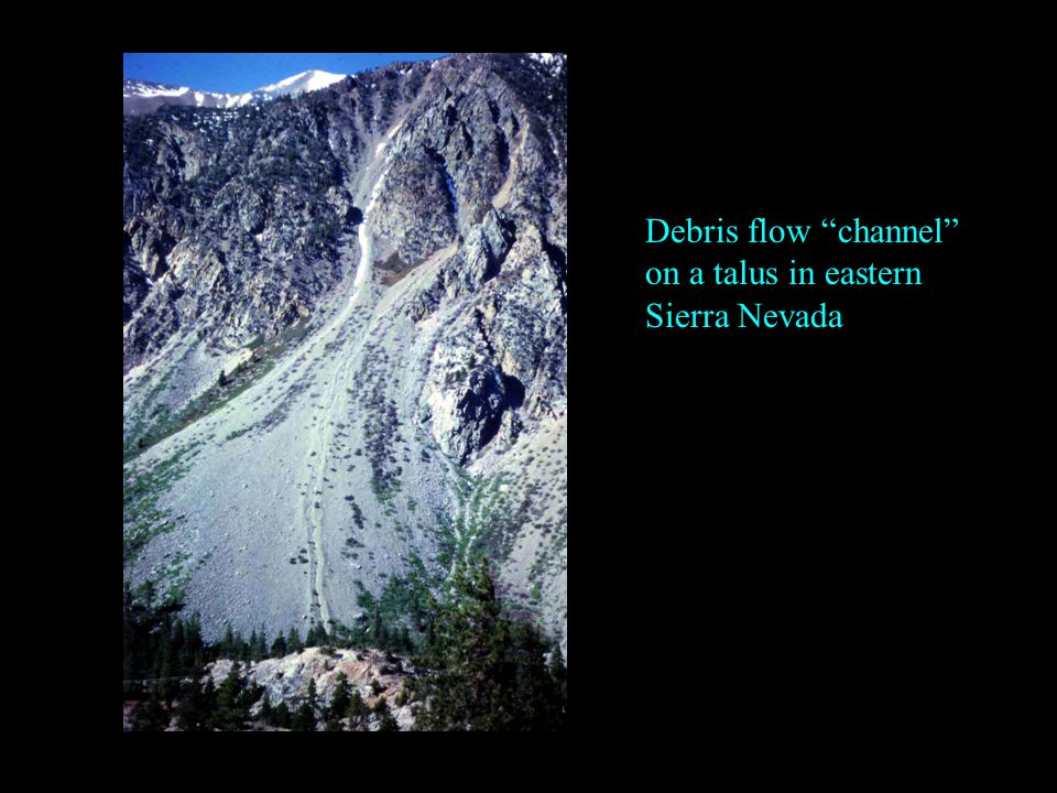Debris flow channel on a talus in eastern Sierra Nevada