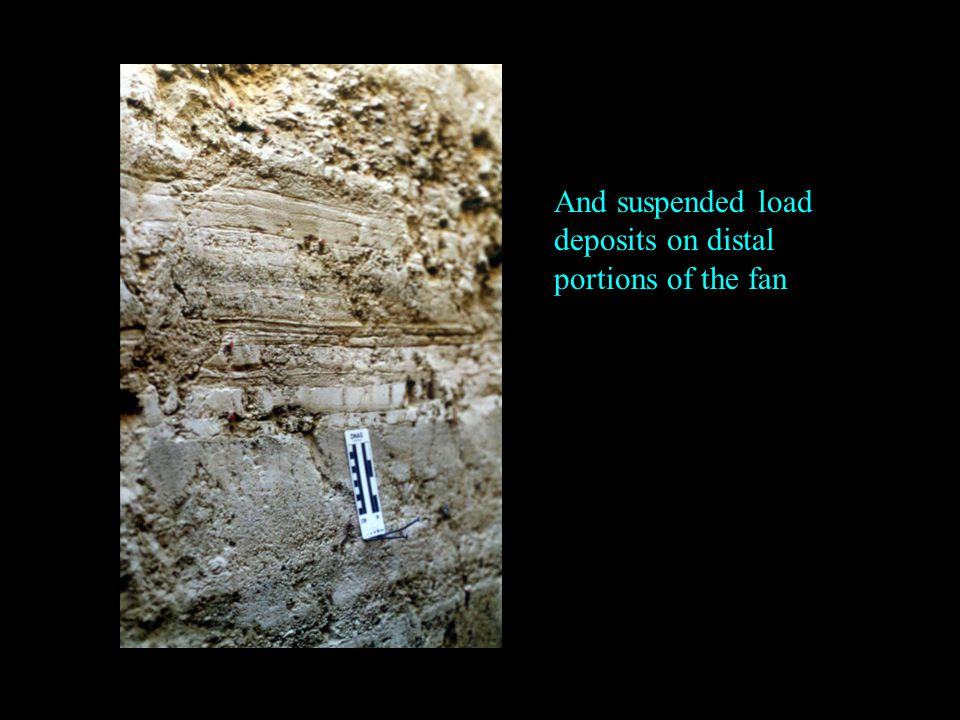 And suspended load deposits on distal portions of the fan