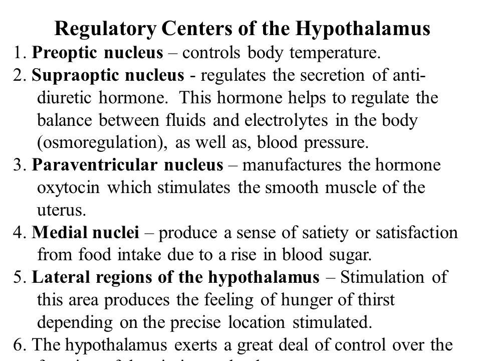 Regulatory Centers of the Hypothalamus