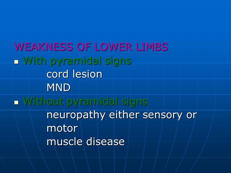 WEAKNESS OF LOWER LIMBS