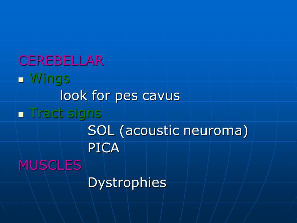 CEREBELLAR Wings look for pes cavus Tract signs SOL (acoustic neuroma) PICA MUSCLES Dystrophies