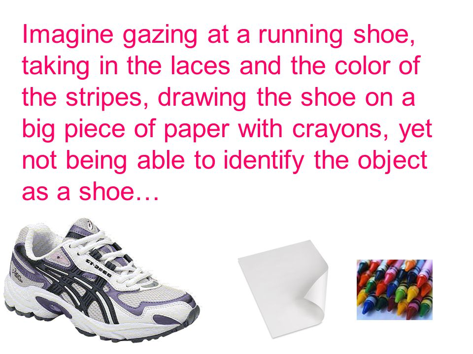 Imagine gazing at a running shoe, taking in the laces and the color of the stripes, drawing the shoe on a big piece of paper with crayons, yet not being able to identify the object as a shoe…