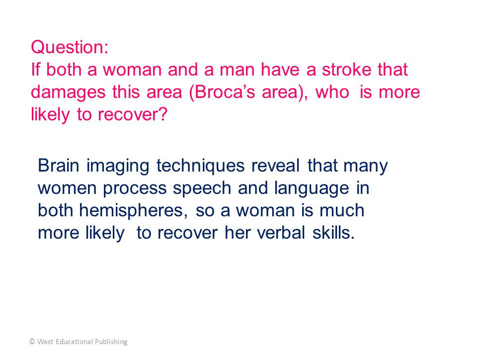 Question: If both a woman and a man have a stroke that damages this area (Broca's area), who is more likely to recover